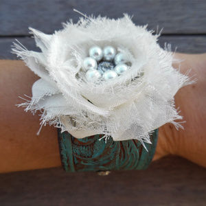 Shabby Chic Rose Painted Leather Cuff Bracelet
